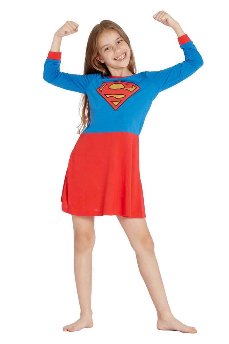 Supergirl Girls Big Flyaway Superhero Costume Pajama Nightgown