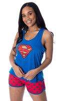 DC Comics Women's Superman Classic Logo Racerback Tank and Shorts Loungewear Pajama Set