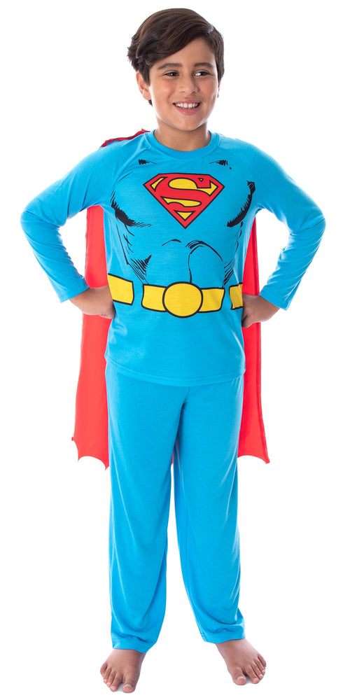 DC Comics Boys' Superman Classic Superhero Costume Raglan Shirt And Pants Pajama Set with Detachable Cape