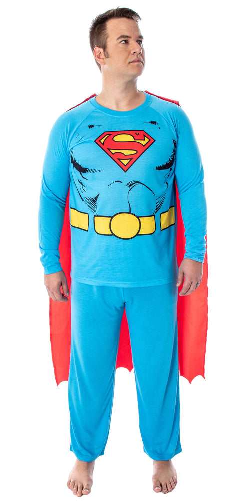DC Comics Men's Superman Classic Superhero Costume Raglan Shirt And Pants Pajama Set with Detachable Cape