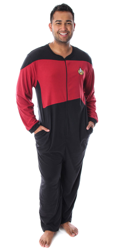 Star Trek Men's The Next Generation TNG Picard Command Uniform One Piece Costume Pajama Union Suit