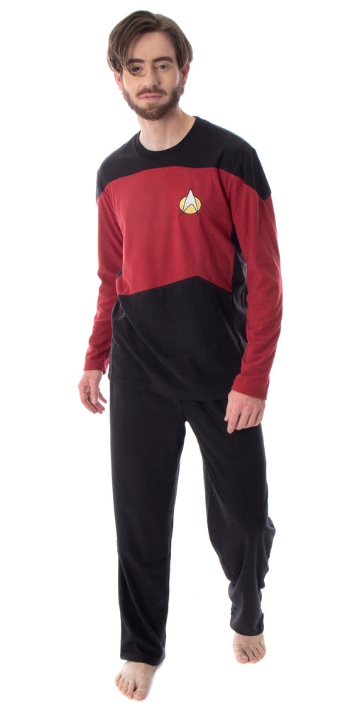 Star Trek Next Generation Men's Picard Uniform Costume Sleepwear Raglan And Pants Pajama Set