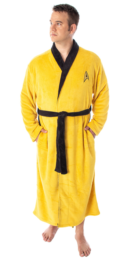 Star Trek The Original Series Adult Costume Fleece Plush Robe Bathrobe - Big And Tall - Kirk, Spock