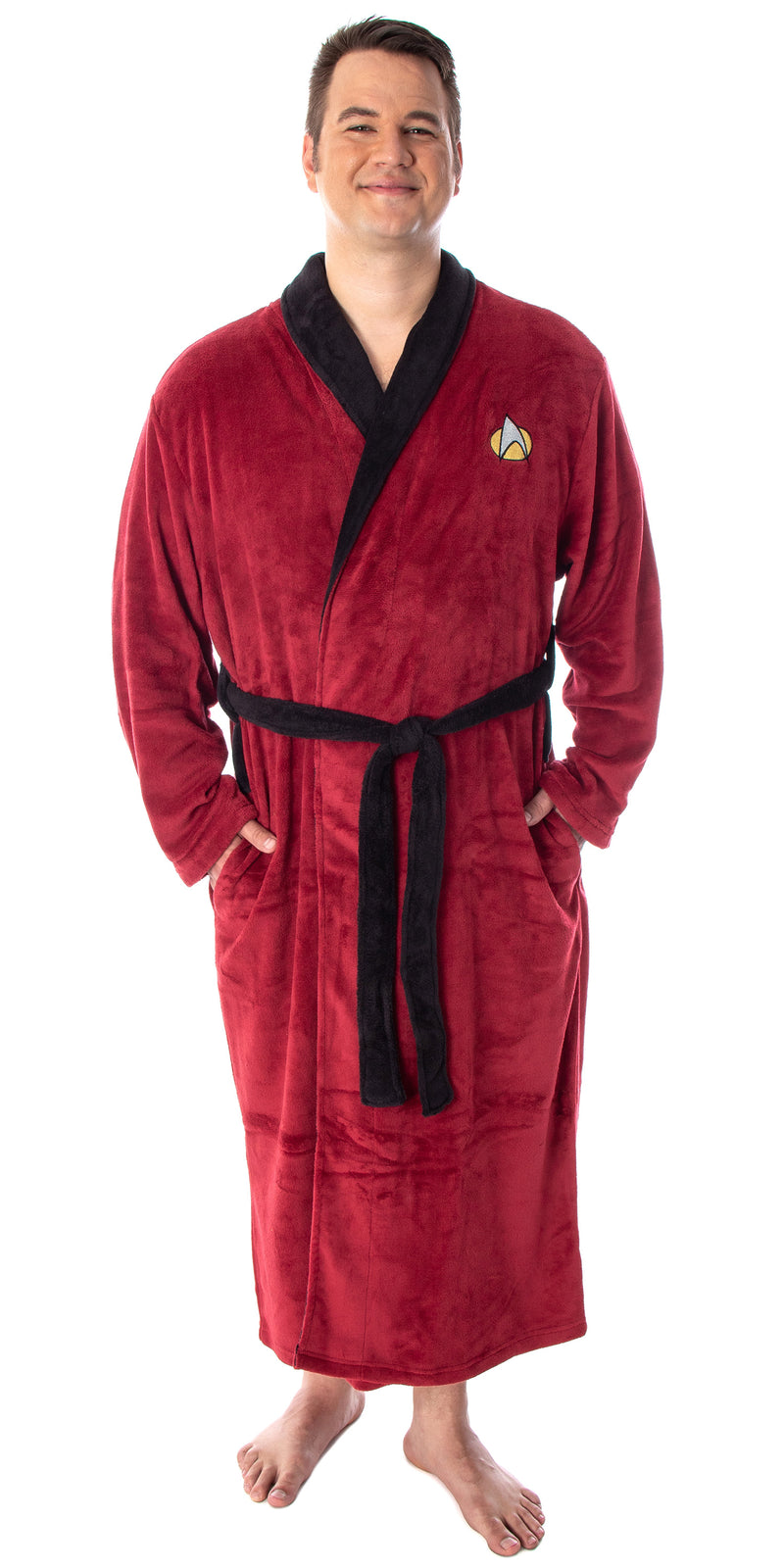 Star Trek The Next Generation Adult Costume Fleece Plush Robe Bathrobe - Big And Tall - Picard