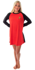 Star Trek Original Series Women's Juniors Costume Raglan Sleep Shirt Nightgown Pajama Top- Uhura, Kirk Or Spock