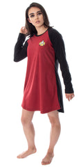 Star Trek Next Generation Women's Juniors Picard Raglan Nightgown Sleep Shirt Pajama Top