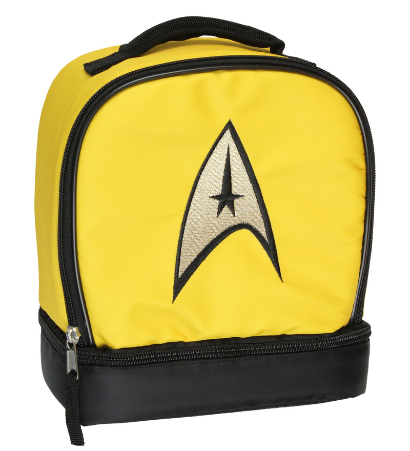 Star Trek The Original Series Captain Kirk Embroidered Command Logo Dual Compartment Insulated Lunch Box Bag Tote