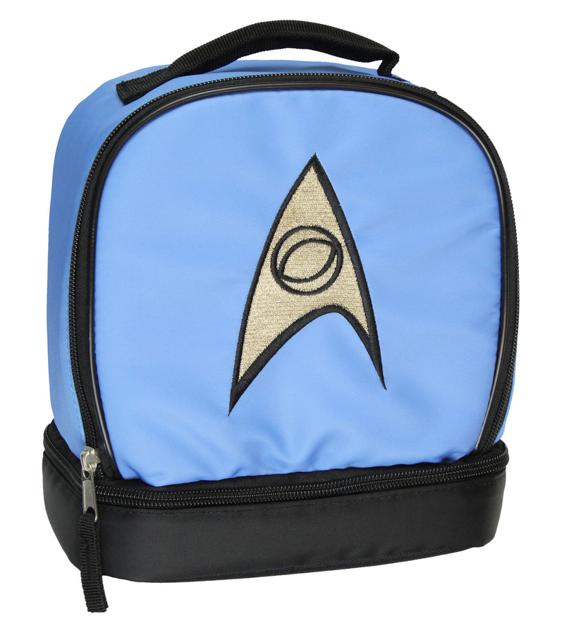 Star Trek The Original Series Spock Embroidered Science Officer Logo Dual Compartment Insulated Lunch Box Bag Tote