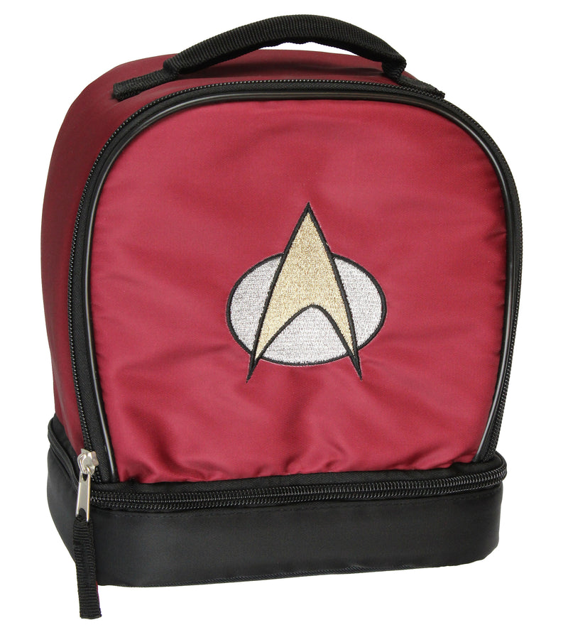 Star Trek The Next Generation Picard Embroidered Starfleet Logo Dual Compartment Insulated Lunch Box Bag Tote