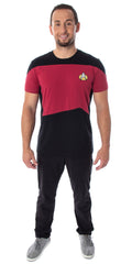 Star Trek Next Generation TNG Men's Picard Uniform Costume Short Sleeve T-Shirt Tee