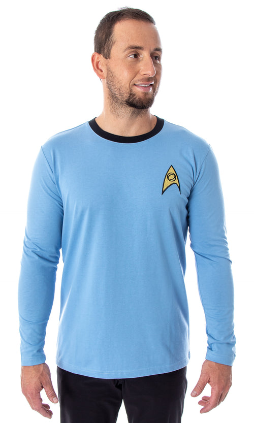Star Trek The Original Series Men's TOS Costume Long Sleeve Tee Shirt - Captain Kirk, Spock