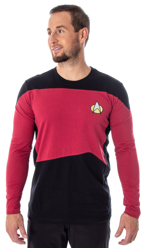 Star Trek Next Generation Men's Picard Uniform Costume Embroidered Logo Long Sleeve Tee Shirt