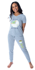 Star Wars Women's The Mandalorian Baby Yoda Wake Up Face Shirt and Jogger Pants 2 Piece Loungewear Pajama Set