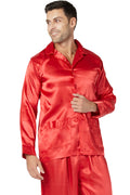 Intimo Mens Poly Charmeuse 2 Pocket Button Front Pajama Top