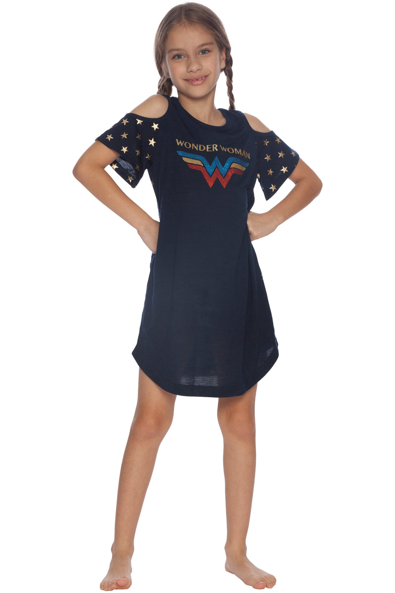 DC Comics Girls Little Wonder Woman Cold Shoulder Glitter Nightgown