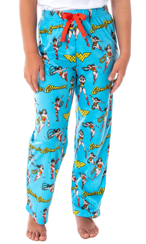 DC Comics Girls' Wonder Woman Vintage Character Allover Pattern Kids Lounge Sleep Pajama Pants