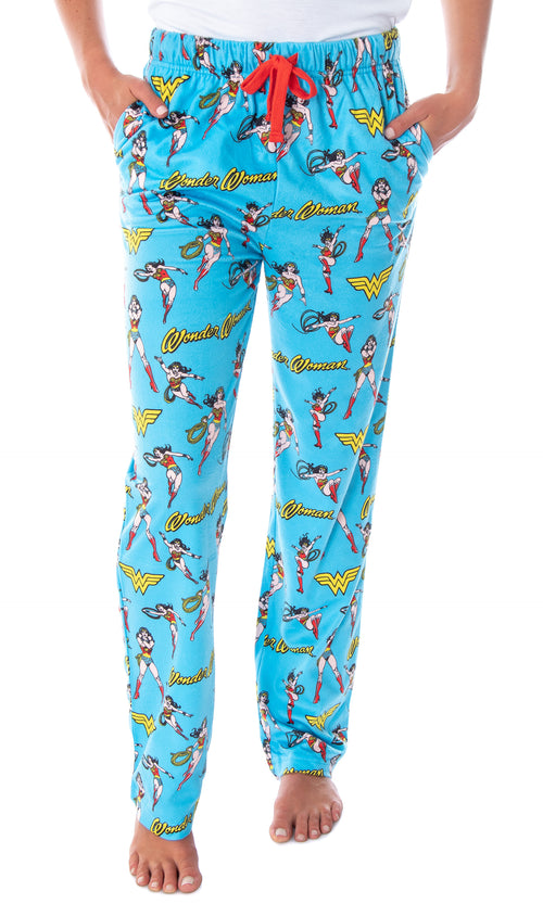 DC Comics Women's Wonder Woman Vintage Character Allover Pattern Adult Lounge Sleep Pajama Pants