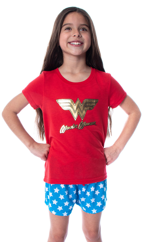 DC Comics Girls' Wonder Woman Gold Foil Logo Shirt and Shorts Loungewear 2 Piece Pajama Set