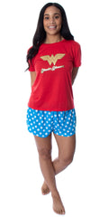 DC Comics Women's Wonder Woman Gold Foil Logo Shirt and Shorts Loungewear 2 Piece Pajama Set