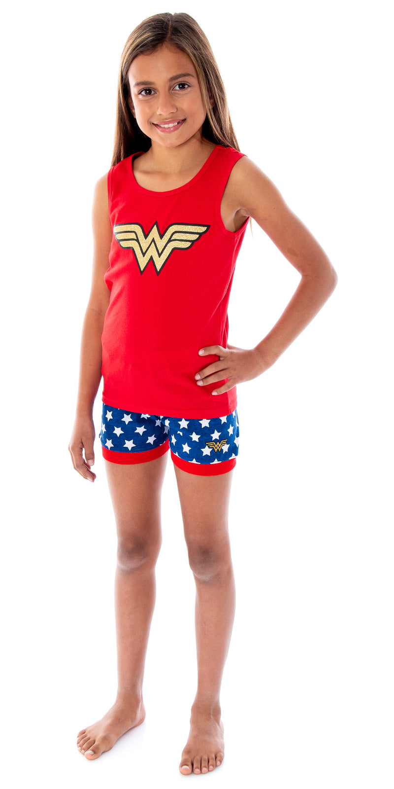 DC Comics Girls Wonder Woman Pajamas WW Logo Tank Top And Shorts 2 Piece Superhero Pajama Set For Girls