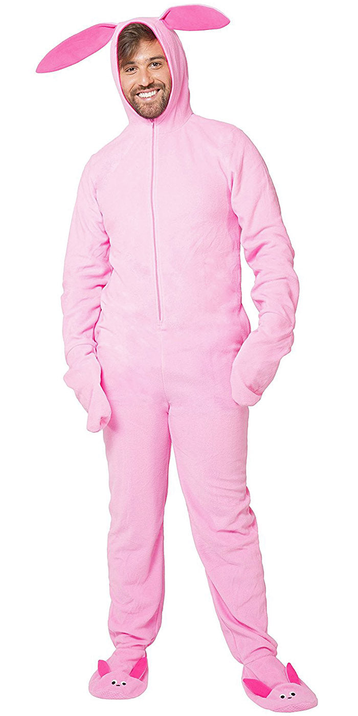 A Christmas Story Men's Ralphie Deranged Pink Bunny Suit Hooded Pajama Costume Union Suit Outfit Sleeper