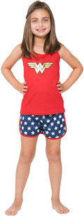 Wonder Woman Big Girls Logo Mesh Tank & Shorts PJ Set