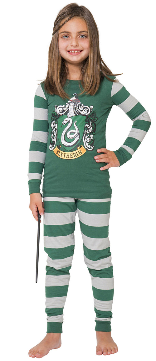 Intimo Harry Potter Kids All Houses Crest Pajamas (Slytherin, 10)