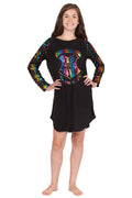 Harry Potter Girls Hogwarts Rainbow Hologram Raglan Nightgown Pajama