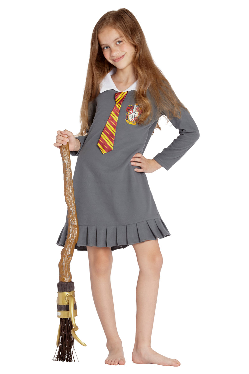 Harry Potter Pajama Girls Hermione Gryffindor Uniform With Tie Fleece Nightgown Costume (XL, 14/16)