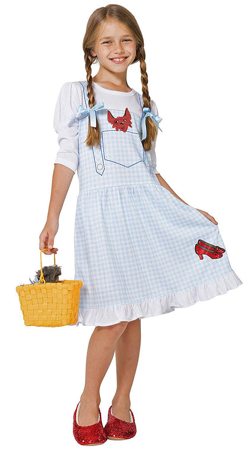 The Wizard of Oz Girls Dorothy Costume Pajama Gown with Fleece Lined Ruby Slippers