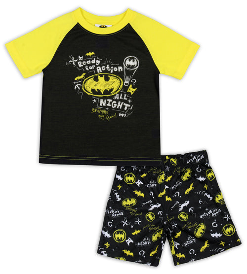 DC Comics Toddler Boys' Batman Pajamas Ready For Action Short Sleeve Shirt and Shorts 2 Piece Superhero Pajama Set
