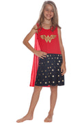 DC Comics Girls' Wonder Woman Glitter Logo Tank Nightgown with Detachable Cape
