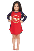 Wonder Woman Costume Girls' Gold Logo Raglan Nightgown Pajama Sleep Shirt (L, 10/12)