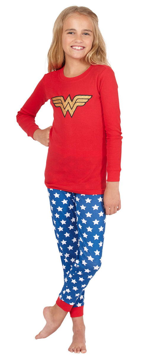 Intimo Girls' Wonder Woman Glitter Logo Pajama Set (BG-10)