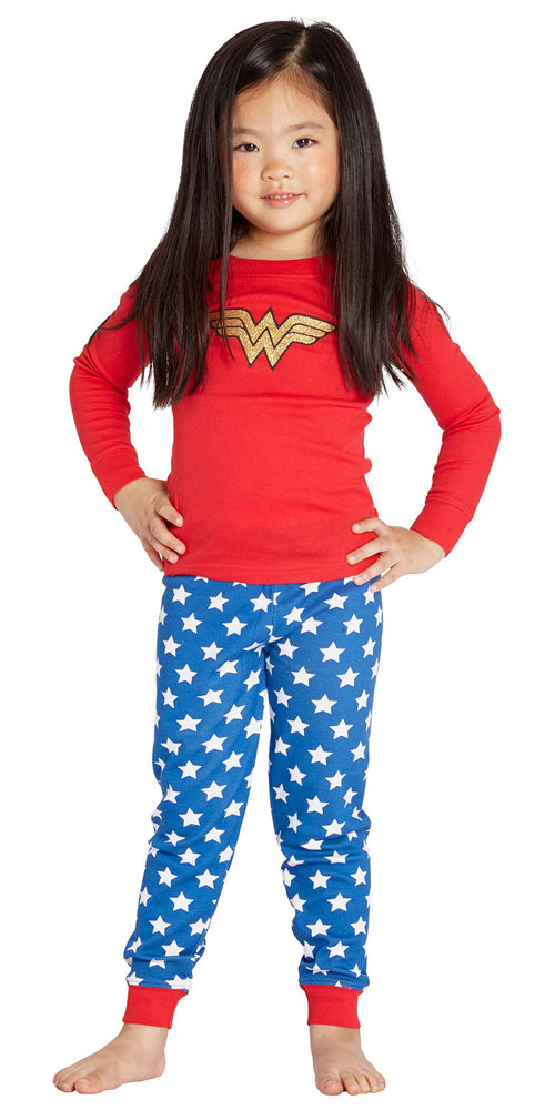 Intimo Girls Wonder Woman Glitter Logo Infant Pajama Set