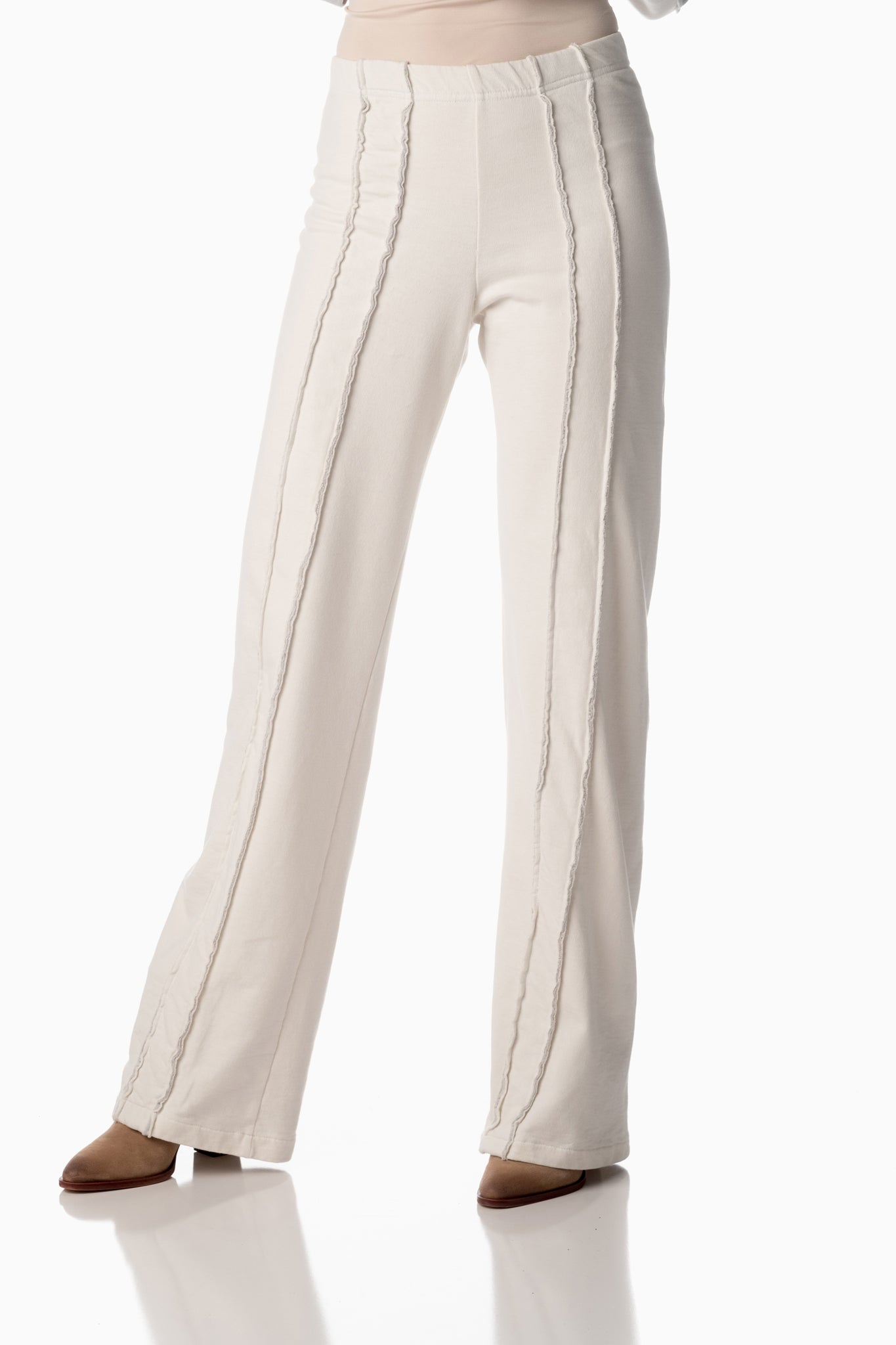 Easy-on Pants <br>Winter White | Arctic Grey Stripes