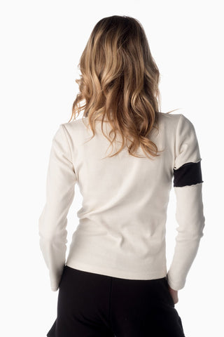 V-Neck & Accent Armband <br>Winter White | Black Armband