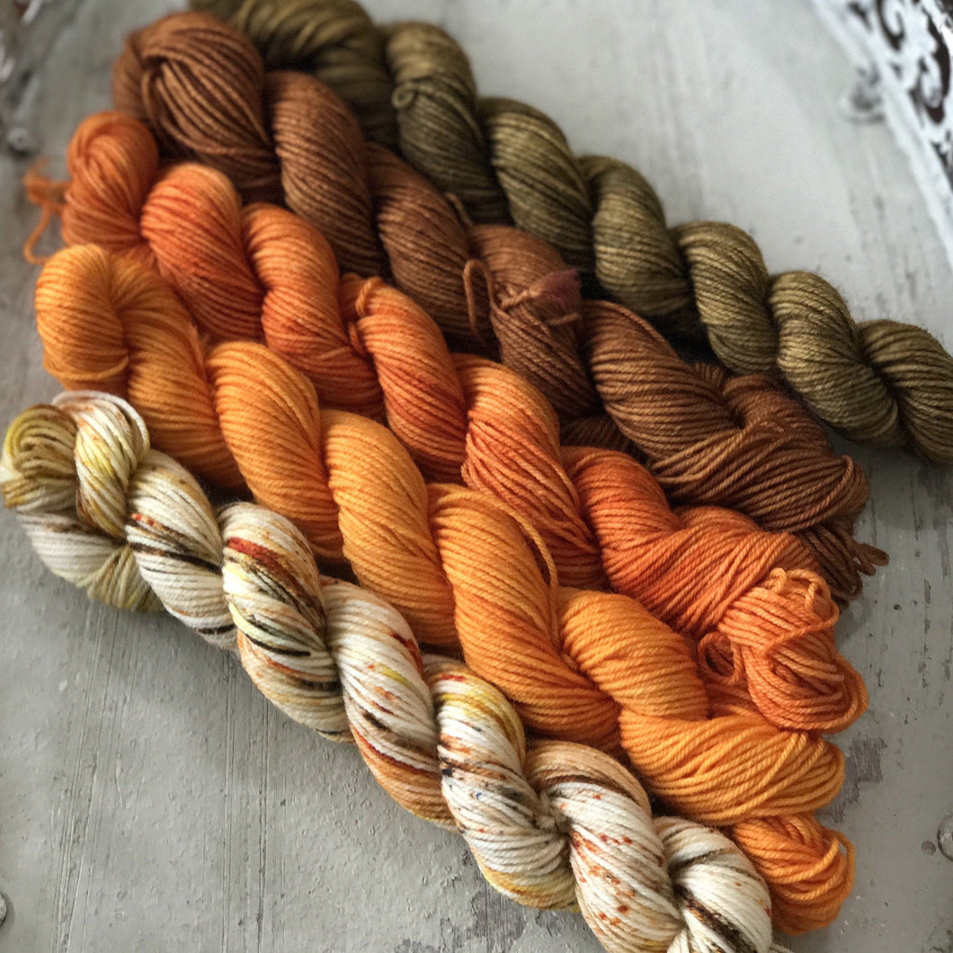 "Divine Sock Mini Set - ""Pumpkin Spice Latte"" - BigFootFibers"