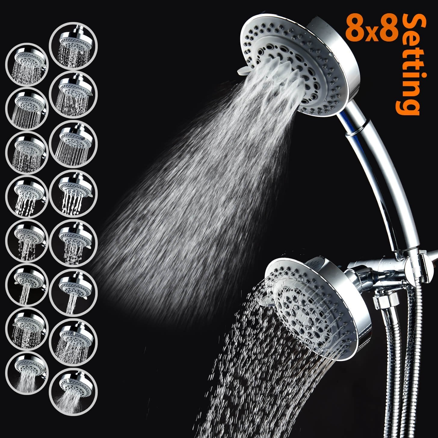 CaptainEco 8 x 8 Function American Standard Combo Shower head 3-way high Pressure
