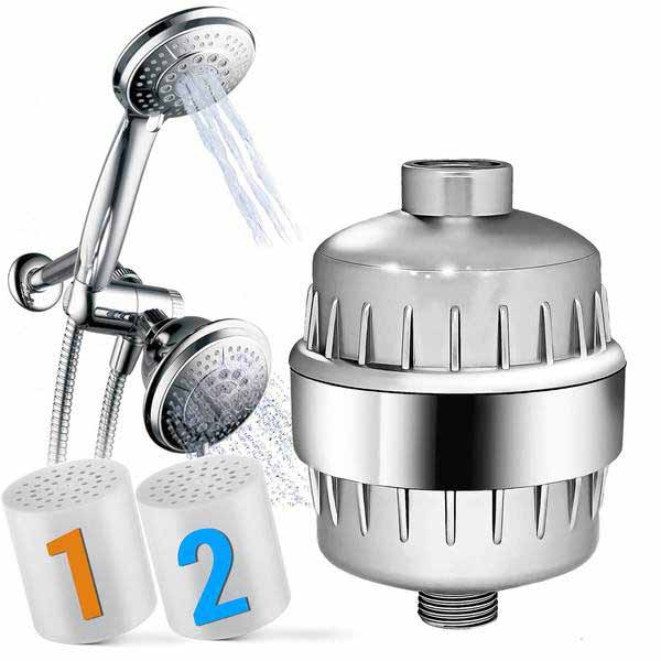 Captain Eco Combo Shower Set Package - Shower Filter, Shower Head & Extra cartridge