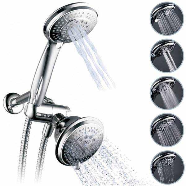 Captain Eco Full-Chrome Multi Function Ultra-Luxury 3-way 2 in 1 Shower-Head
