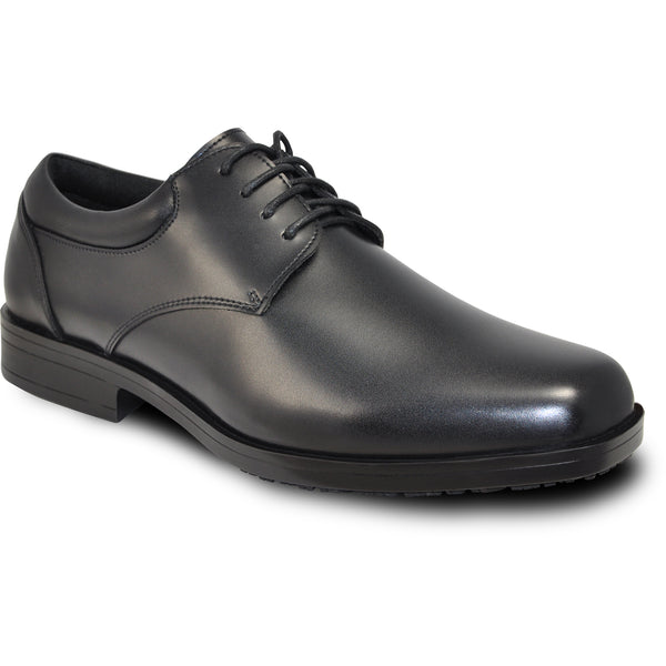 VANGELO Men Slip Resistant Shoe NEWPORT Black Matte - Wide Width Available - Fit Half Size Small
