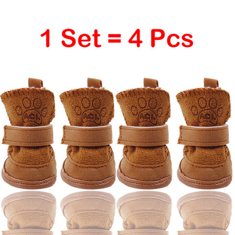 Cute Pet Dog Shoes Winter Super Warm 4pcs/set Dog's Boots Cotton