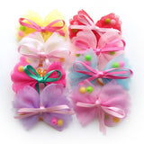 Dog Hair Bows Polyester with Pearls Pet Dog Grooming