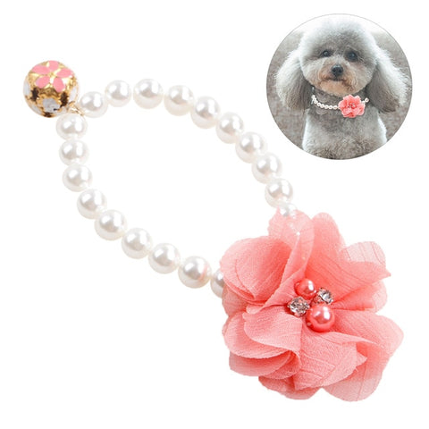 Princess Pearl Pet Necklace Accessories For Puppies Dogs
