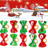 10pcs/bag Dog Hair Bows with Rubber Bands Christmas Pet headdress