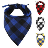 Cotton Dog Plaids Triangular Bandana Scarf Washable And Reusable  Bibs