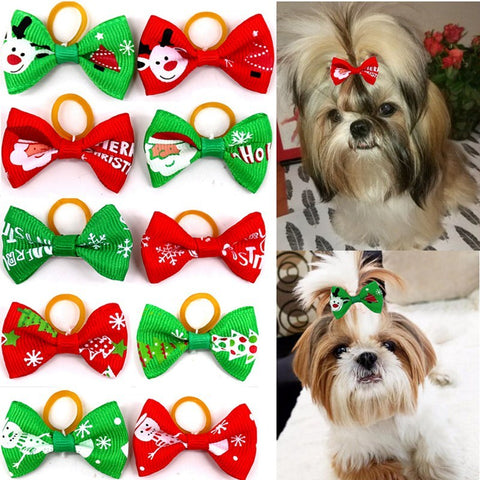 10Pcs/Set Pet Christmas Bowknot Headdress Dog Hair Bows With Rubber Bands