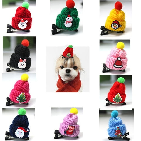 Santa Claus Pet Dog Hair Bows Alloy Clips Pet Dog Grooming Accessories