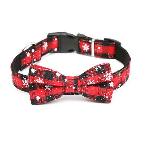 Christmas Dog Collar Bow tie Dog Accessories Red Plaid Necklace